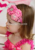 Fancy Ballerina Flower Baby Girl Headband Toddler Elastic Hairband Rhinestone Flower Accessories Photo Props 5pcs HB087