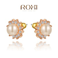ROXI Wholesale fashion jewelry Rose Gold Plated Austrian Crystal Imitation pearl Flower Stud Earring 2014121244