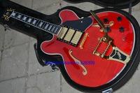 Brand NEW ES335 guitar semi hollow cerise guitar golden hardware electric guitars free shipping