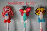 2015 Free shipping cute Cartoon sucker toothbrush holder / suction hooks 5pcs/lot