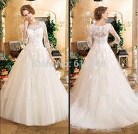 Romantic Design vestido de noiva for casamento Lace Beading 3/4 Sleeve See Through Chapel Train A-line Wedding Dresses 2015