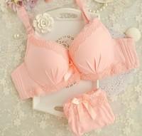 Free shipping cute little girl bra thickening Seamless underwear lace bra gather adjustable underwear sets