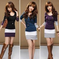 New1PC Womens Elegant Long Sleeve Bodycon Stripe Party Mini Sexy Casual Plus Size Dress Vestidos S-XL Free Shipping Alipower