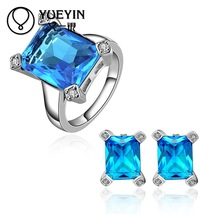 10sets/lotFVRS047 2015 new fine jewelry sets Extravagant Party jewlery set for lady Fashion Big Crystal set Ring and  Earing