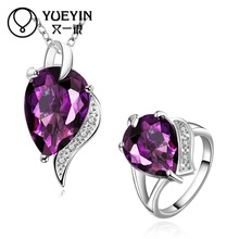 10sets/lotFVRS021 2015 new fine jewelry sets Extravagant Party jewlery set for lady Fashion Big Crystal set(Necklace and Ring)