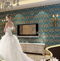 3D relief European wallpaper non-woven blue Damascus wallpaper bedroom to the living room TV background wallpaper