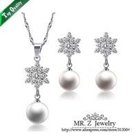Christmas Gift Delicate Pearl Snowflake Necklace Earrings Costume Jewelry Set Free Shipping