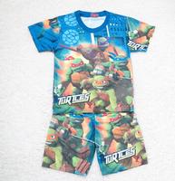 one piece retail New Mutant Ninja Turtles TMNT boy boys short sleeve t shirt top + shorts pants sleepwear summer pajamas