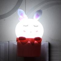 0.2w Lovely Rabbit Style Plug Light LED Night Light 220v/110v white led bulbs DreamBed Lamp Home Illumination free shipping