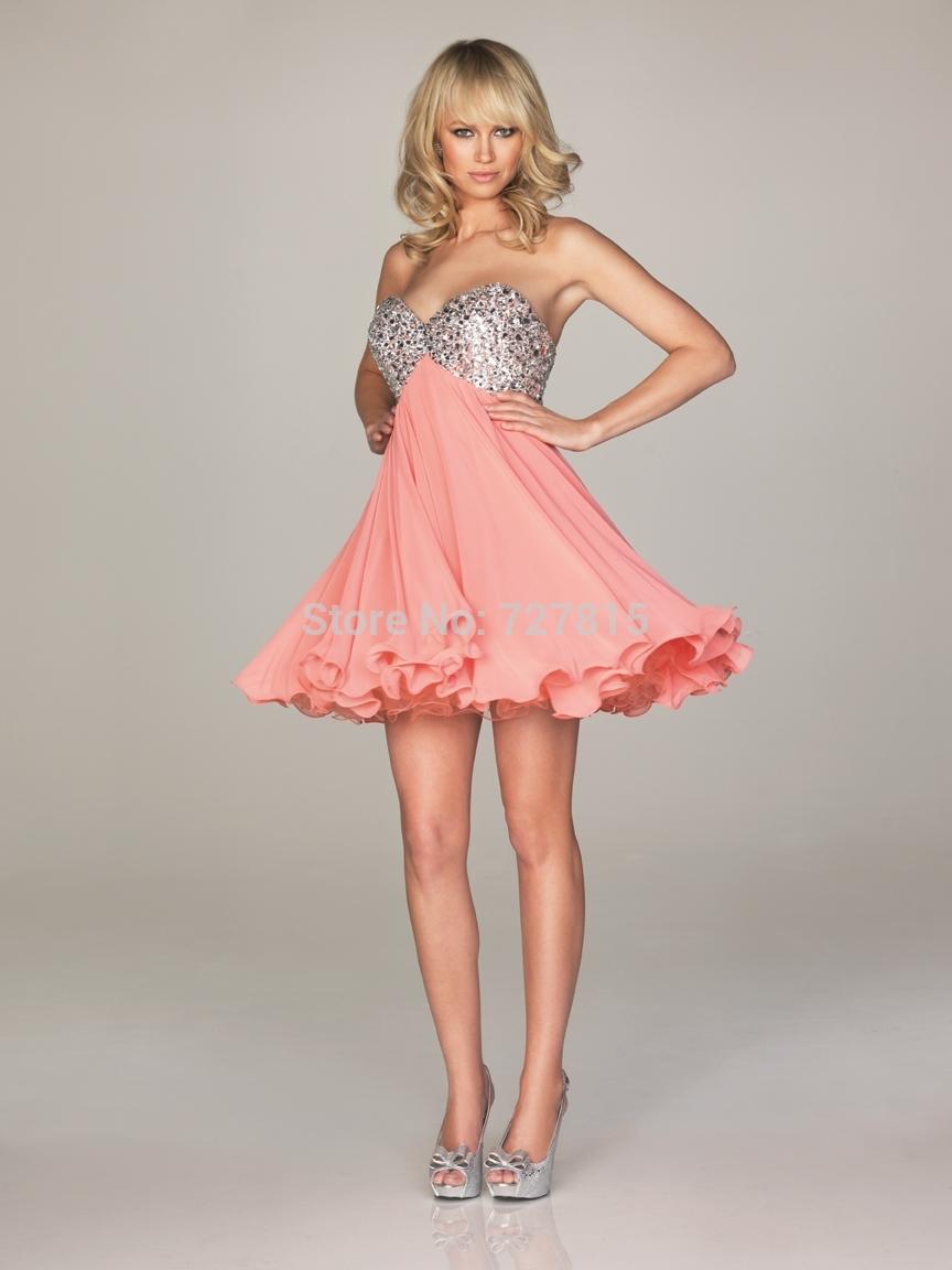 Short Coral Prom Dresses
