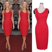 Women Red Celeb Party Dresses 2014 New Summer Sleeveless Bandage Slim Bodycon Elegant Sheath Knee-length Evening Dresses
