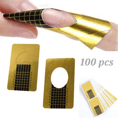 Wholesale 100pcs/roll Professional Nail Tools Tips Nail Art Guide Form Acrylic Tip Gel Extension Sticker Nail Polish Curl Form(China (Mainland))
