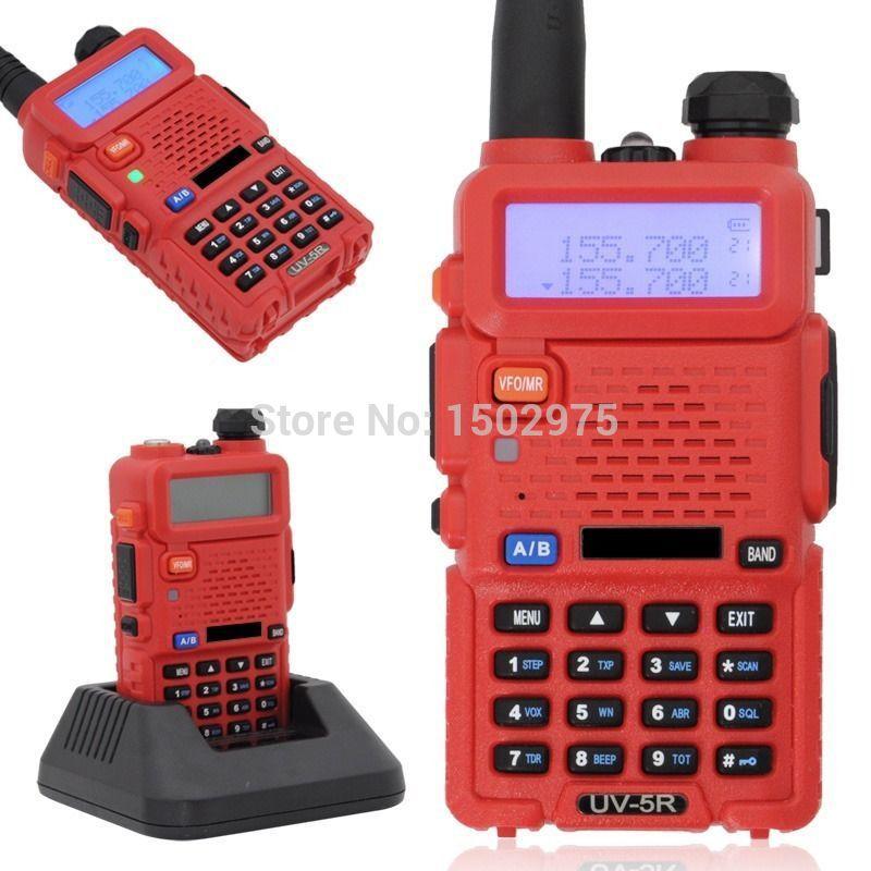 Pofung FM UV-5R Portable UHF+VHF Dual Band Walkie Talkie Red Ham Two way Radio(China (Mainland))