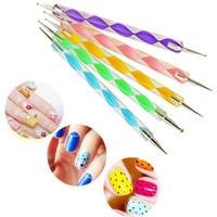 5PCS 2Way Marbleizing Dotting Manicure Tools Painting Pen DIY Nail Art Paint Nail Art Dot Dotting Tool Nail Care Wholesale