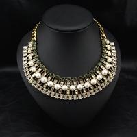 Wholesale Brand Fashion Jewelry Women Costume Pearl Collar Vintage Choker Bib statement necklace Fow Christmas Gift