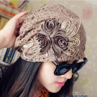 2015 New Fashion Women Lace Cap Winter Flower Skullies&Beanies Winter Hats For Women Having Two Layers