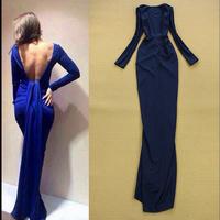 2015 Designer Fashion Women Backless Sexy Draped Bodycon Long Dress Evening Cocktail Dress Free Shipping  F16655