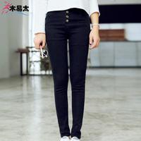 2015 vintage buttons high waist jeans trousers female slim elastic pencel pants