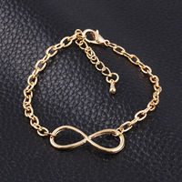 New Fashion Popular Plating Gold Metal Cross Infinite Bracelet & Bangle Charm chain bracelets Jewelry Wholesale For Women M16