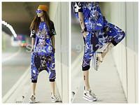 All-match New Big-crotch New Women Blue Clown Printing Hip Hop Street Dance Shorts Capries FS3272