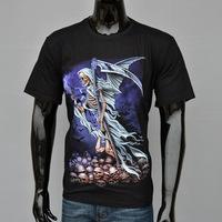 2014 New Summer all-match personality 3d short-sleeve T-shirt men's clothing doodle print basic shirt skull