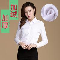 Fashion Women Blouses 2014 Autumn and Winter women's clothing plus velvet S-2XL thickening OL white top long-sleeve ladies shirt