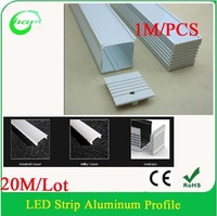 20M/Lot double row 3528/5050 led strips profile Square LED Aluminium Profile, 1m/pcs LED Strip Profile Aluminium Extrusion