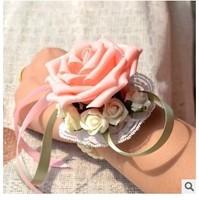 (6 pcs/lot ) 2015 wholesale latest wedding handmade artificial bride wrist flowers
