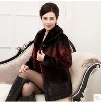 2014 Luxury faux fur mink women's coat new fashion women coat gorgeous upscale fur coat with natural fur coat long E052