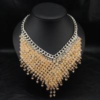 Wholesale Violetta Jewelry Fashion Vintage Costume Women Accessories Crystal Beads Pendant Statement Choker Necklace