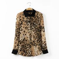 Blusas Femininas 2014 New Fashion Women Blouse Ladies Sexy Long Sleeve Leopard Print Chiffon Blouses Blusas Tops Shirt For Women