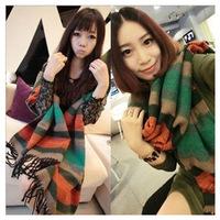 2014 winter new fashion women Warm hit color rainbow girl stripes soft scarf fringed long scarf shawl Couples unisex