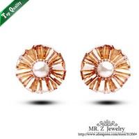 Handmade Sweet Beautiful Pearl Flower Studs Earrings For Ladies Korean jewelry 5pairs/lot Free Shipping