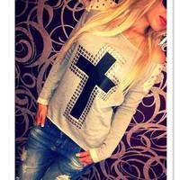 Fashion Moleton Feminine Loose Sweatshirts Woman Retro Sexy Rivet Cross Printed Pullover Casual Long Sleeve Sportswear fk852730