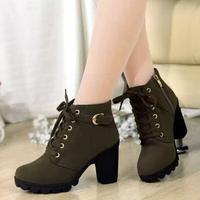 c31 2015 new Autumn winter plus velvet short boots with thick chunky heels buckle zipper wild black matte ol Martin boots