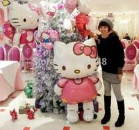 10pcs Big Size 118*68CM Cartoon Hello Kitty Foil Air Balloon Walking Standing Balloons Kitty Cat