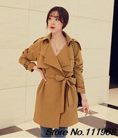 2014 New Arrival Autumn Women Korean Style Turn-Down Collar In the long section Trendy Trench Coat LSY047