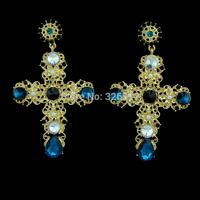 Baroque luxury vintage yellow gold plated crystal cross drop earrings jewelry brand pearl flower dangle earrings for women