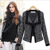 Hot New Casual Slim Black white  For Women Open Stitch Short  Jacket feminino Winter Coat Outwear Plus Size  S-XXL SJY742