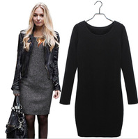 Hot Sale! new 2014 women winter dress pure color soft nap casual dress long sleeve autumn sexy cotton vestidos plus size 3XL