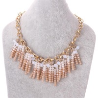 Free shipping! Popular chunky multi beads necklace, Trendy ladies gold chain pendant necklaces