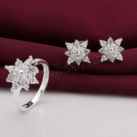 Jewelry Set Brass finger ring & earring Flower real silver plated nickel lead & cadmium free 15x15mm 10x10mm Size:8 Sold By Set