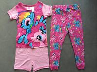 free shipping my little pony girl girls 3 piece set pajamas pjs summer shorts top pant  pink