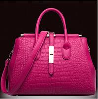 Free shipping+new 2015 fashionable big crocodile grain leather handbag in baotou layer cowhide handheld women messenger bag