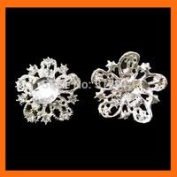 Free Shipping ! 100pcs/lot  crystal flower rhinestone brooch buckle for wedding embellishment