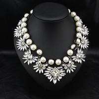 Wholesale Fashion Brand Jewelry Perfume Women Collar Costume Pearl Accessories Bijoux Choker Bib necklace For Christmas Gift