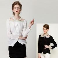 2015 New fashion women's beading blouses long sleeve Europe sexy ladies' slim black,white shirt all-match plus size blouse