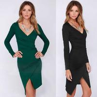 New 2015 Spring Dresses Woman Clothes Sexy Cross Split Hem Package Hip Pleated Dress V-Neck Long Sleeve Dress Lady Office Dress