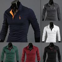 2014 Fashion Deer embroidery embroidery male slim long-sleeve polo shirt man mens casual polo shirts