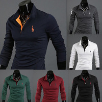 2014 Fashion Deer embroidery embroidery male slim long-sleeve polo shirt man mens casual polo shirts
